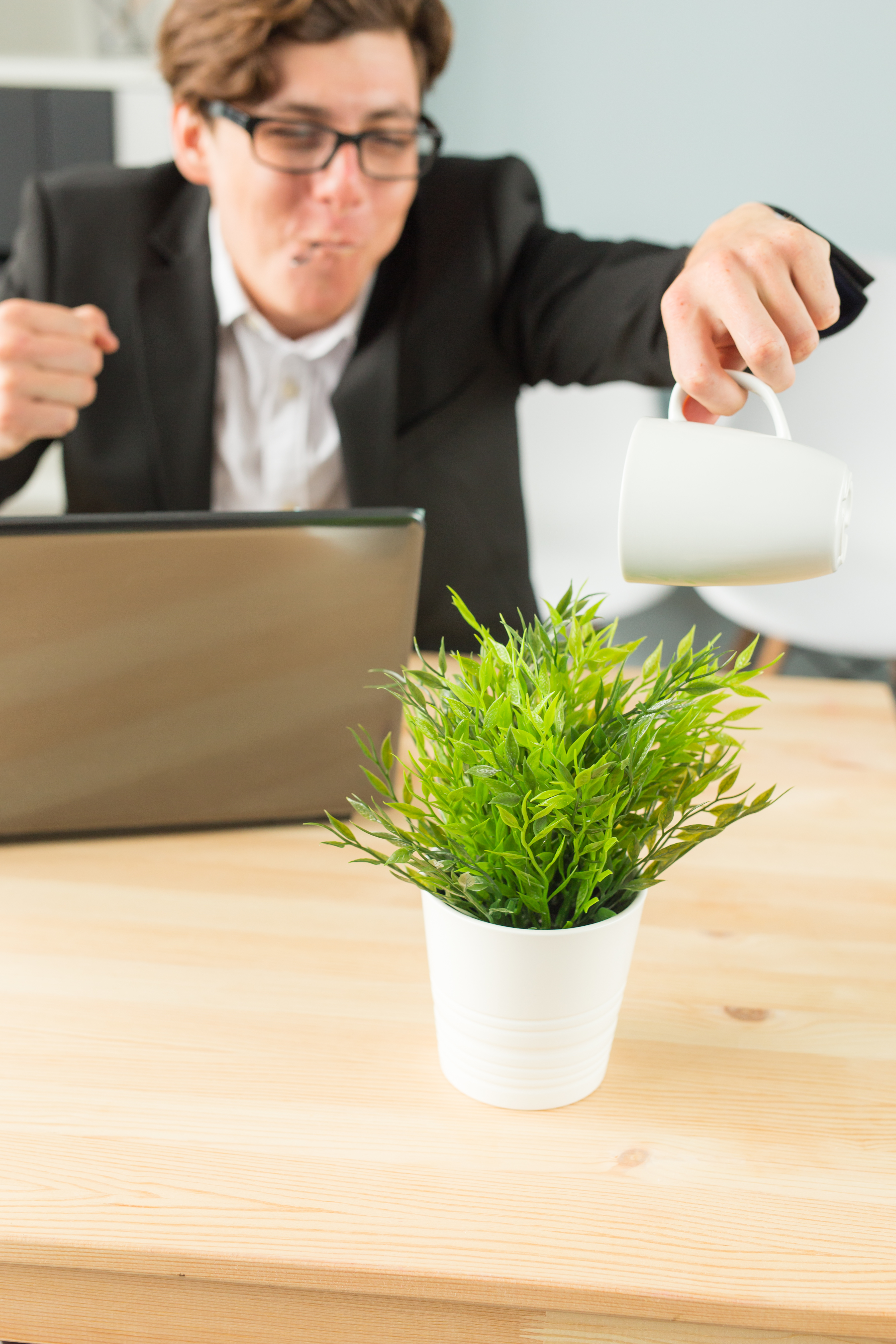 Office, humor, joke and business people concept - handsome man working in office, watering potted plant, sitting with spoon in his hands and smiling.