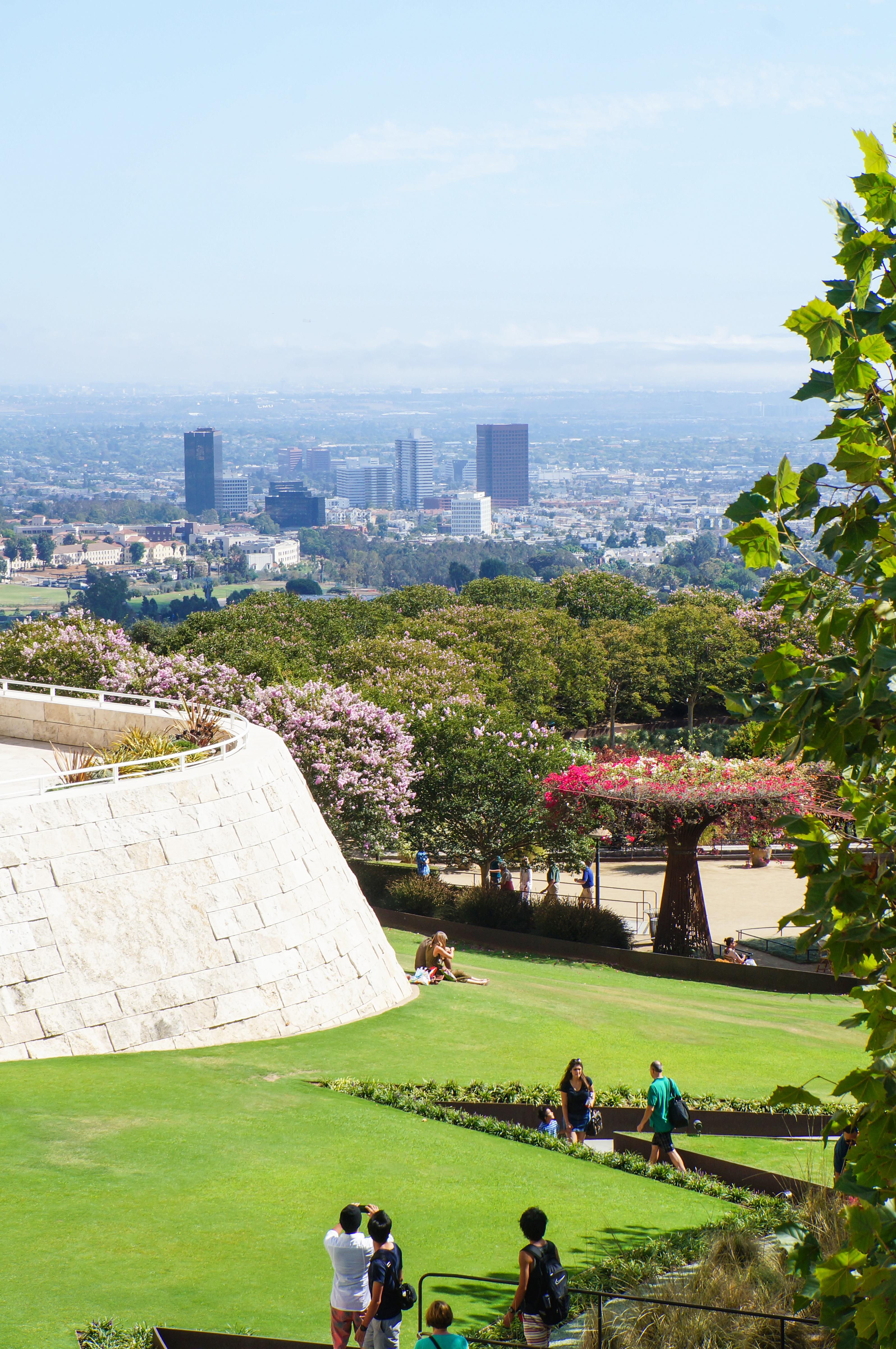 Robert Irwin's Central Garden at the Getty Center (J. Paul Getty Museum) with Los Angeles city view, California, United States